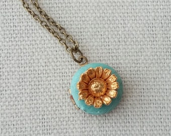 Tiny Locket Necklace with Bright Brass Daisy Flower Hand Painted Patina  - Midas Touch.