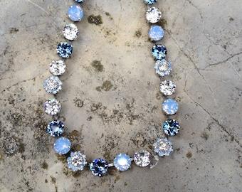 8mm swarovski shades of blue necklace