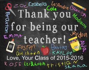Teacher appreciation gift, teacher sign, thank you teacher gift, chalkboard digital sign, digital download, end of year printable gift
