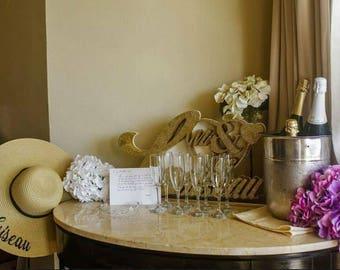 """CUSTOM """"MRS""""  5 inch Brim Beach Hat, Floppy Hat, Ladies Sun Hat, Bride To Be, Honeymoon Hat, Shower Gift"""