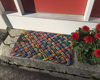 Maine rope rug, Upcycled lobster rope, Maine made, Nautical outdoor mat, Vibrant doormat as featured in HGTV Magazine
