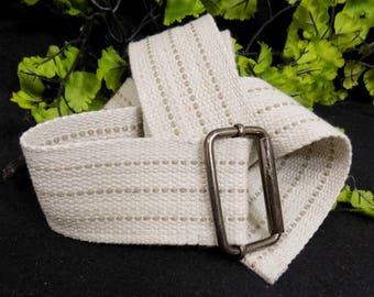 Off White Belt D Ring  - 2 inch Wide belt -Natural Canvas Belt - Boat Belt Cinch Belt -  size up to 40 inch ,  # B 4