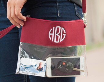Monogrammed Clear Pouch, Monogrammed Clear Purse, Clear Pouch, Gameday Purse, Clear Bag