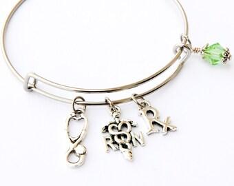 RN Bracelet, RN Graduation Gift, Registered Nurse Bracelet, RN Jewelry, Charm Bracelet, rn Gifts, Nurse Gifts, Nurse Bracelet