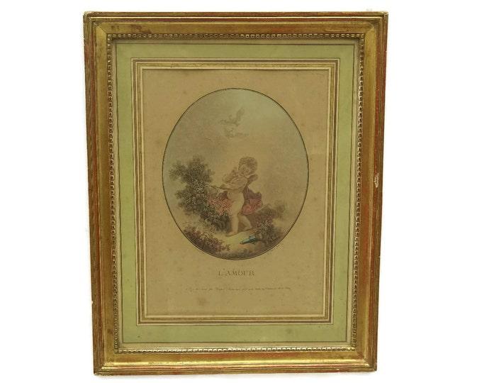 18th Century Aquatint Etching L'Amour by Jean-Francois Janinet after Jean-Honré Fragonard.