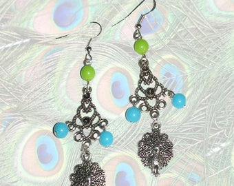 Peacock with green and blue beads earrings