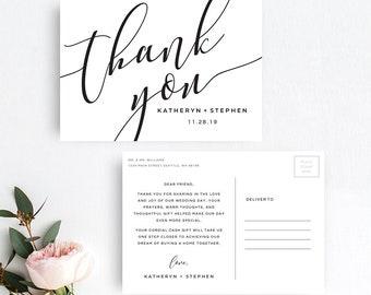Thank You Postcards, Wedding Thank You Postcards, Calligraphy Script Wedding Thank You Postcards, DIY Thank You Postcards Printable Template