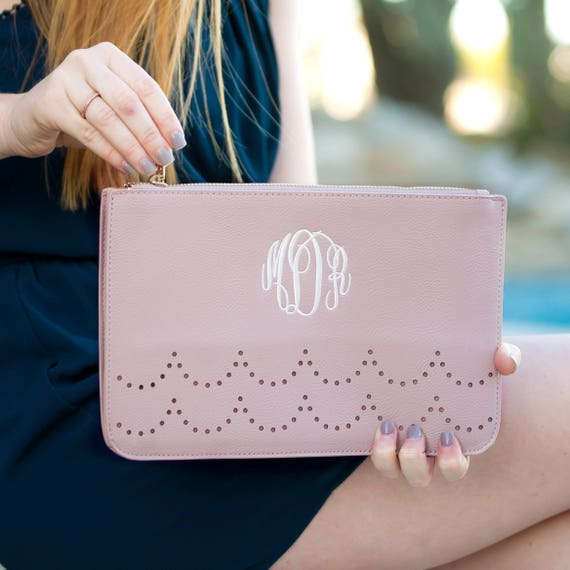blush Monogrammed Ava Clutch, Personalized Ava Clutch Purse, Sorority Bags, Bridesmaid Purses, gifts for her