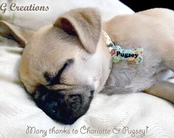 Colorful Small Bone Dog Tag - Waterproof Mini Small Size - Personalized - Sprinkles - Custom Handmade Dog Pet ID - Cute Dog Collar Accessory