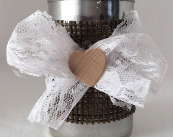Tin Can Candle Holder, Tin Can Desk Organizer, Handwrapped with Burlap & Lace