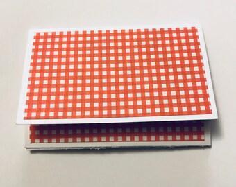 Gift Card Holder Orange Gingham Giftcard Holder Teacher Appreciation Envelope Pocket Holiday Thank You