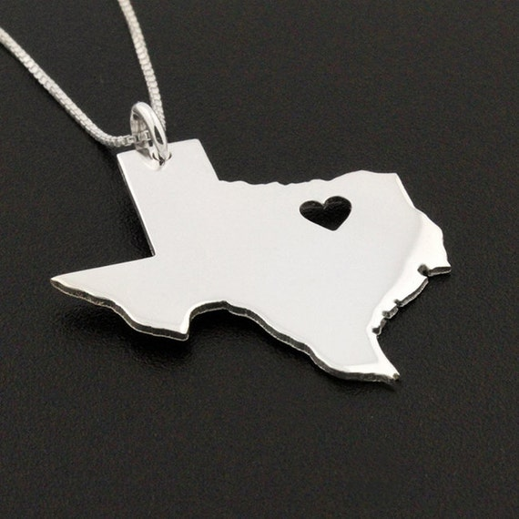 Texas necklace personalized sterling silver bright satin mozeypictures Choice Image