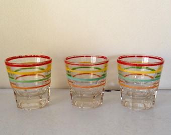 Set of 3 ringed highball glasses - art deco -Gatsby Barware
