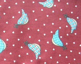 3.5 yards Blue Bird Cotton Fabric / Red with Hearts Fabric / Springs Industries
