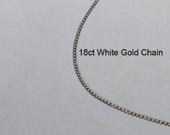 18ct 18K 750 Solid White Gold Curb Link Chain Necklace for Pendant Jewellery