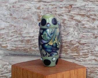 Handmade Glass Lampwork Barrel Focal Bead - Organic Brocade