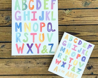 11x14-Alphabet-wall art-nursery-decor-colorful-Abc sign