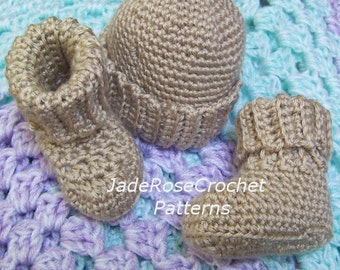 Crochet Booties and Hat Pattern, Crochet Baby Hat Pattern, Hat and Booties, Newborn Hat and Booties, 6 Months PDF401