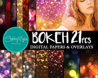 Bokeh Digital Papers, Bokeh Overlay Instant Download Scrapbook Papers Colorful Background Clipart