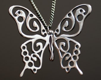 """Swallowtail Butterfly Pendant    Butterfly necklace of albata    Pendant """"Papilio machaon"""" on a chain"""