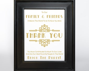 Art Deco Gold Thank You Sign Printable DIY Digital File PDF Wedding Friends Family Gift Table Sign Nonmetallic matte ink 4x6 5x7 8x10