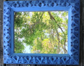 Vintage blue mirror, hand painted ornate mirror, 11x13 framed mirror