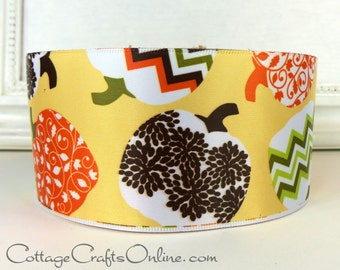 "Fall Wired Ribbon, 2 1/2"" wide, Patterned Pumpkins, Yellow, Orange, Brown - TEN YARD ROLL - Offray ""Lumina"" Halloween Wire Edged Ribbon"