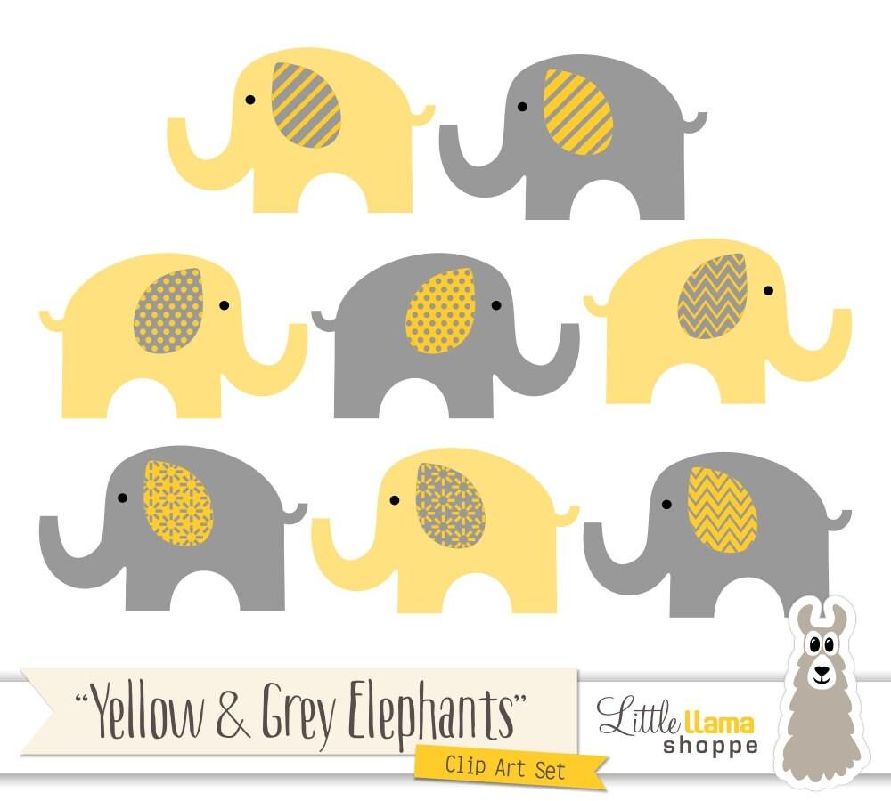Yellow & Grey Elephant Clipart, Yellow Gray Nursery Decor, Elephant ...