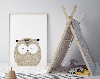 Owl print, Nursery owl print, Nursery decor, Owl decor, Cute animals, Owl art decor, Baby room decor, Owl artwork, Kids room art, Kids decor