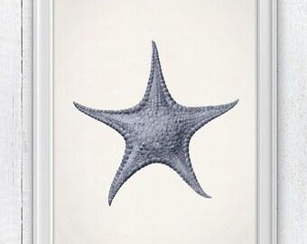 Starfish in lavender color Wall decor poster ,  seaside print - sea life print -Marine  sea life illustration A4 print SAS091