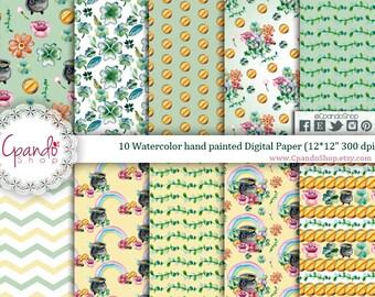 St. Patrick's Day digital paper, clover digital paper, goblin st patrick, St. Patrick's Day wallpaper St. Patrick's Day patterns