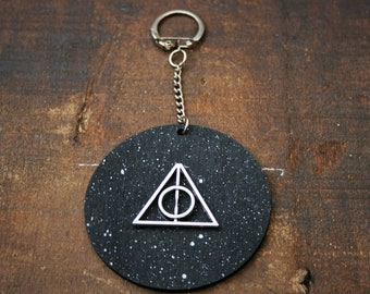 Deathly Hallows Handmade Wooden Keyring/ Keychain - Inspired by Harry Potter