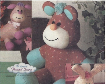 1980s Ric Rac™ The Rabbit, Lacey™ The Lamb, Threads™ The Bear, Blue Transfer McCalls 3211 The Land of Pleasant Dreams™ Stuffed Animals