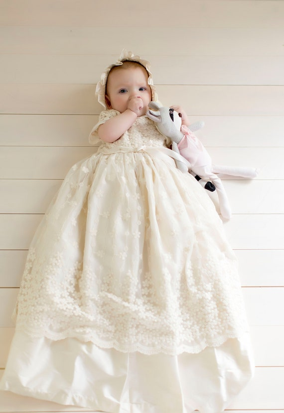 SALE Jessica Lace Christening Gown Silk Baptism Gown Girls