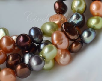 """Mixed Color Baroque Nugget Freshwater Pearls,5-6 mm Potato Pearls, Full Strand 15"""""""