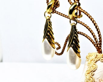 Clip earrings vintage Ungaro Paris white faux pearls and antiqued gold metal, rare collectible, perfect gift!