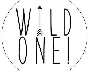 1st birthday stickers, wild one first birthday stickers, arrow 1st birthday labels, black and white arrow birthday stickers