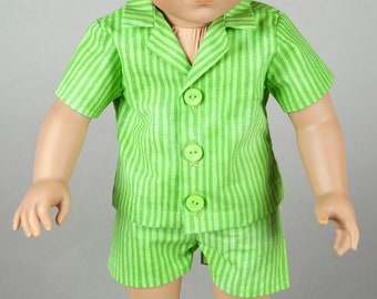 """Handmade Doll Clothes - 2 Piece Summer Paywear Set / Or Pajamas - Made to Fit 18"""" Dolls Like American Girl/ Boy or Similar"""