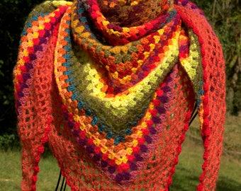 Shawl, scarf / crochet half-granny square (multicolored) Orange autumn colors