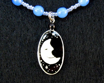 Beaded Choker Necklace with Moon Face pendant - wiccan jewelry - pagan jewelry - moon and stars - ostrich eggshell jewelry