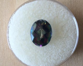 Genuine Mystic Topaz Faceted Oval Cut Calibrated 10x8mm 3.32ct Checkerboard Top Loose Gemstone Wholesale Pricing B345