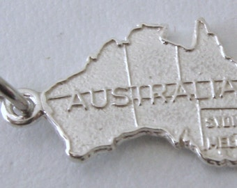 Genuine SOLID 925 STERLING SILVER Large Australian map charm/pendant