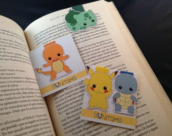 Magnetic bookmarks - Pokemon, Pikachu, Charmander, Squirtle, Bulbasaur