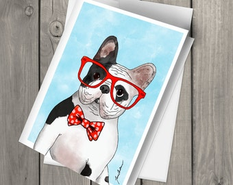 Cute French Bulldog Wearing Glasses and Bowtie illustrated watercolor blank note card with envelope