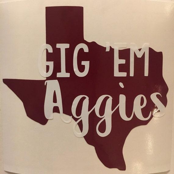 Texas am sticker texas aggies vinyl tamu decal gig em
