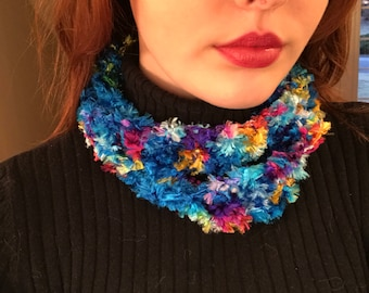 Turquoise Infinity Scarf with Rainbow Flecks