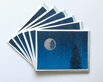 Letterpress Cards 6-Pack- Silver Moon & Navy Night Sky Ink Wash