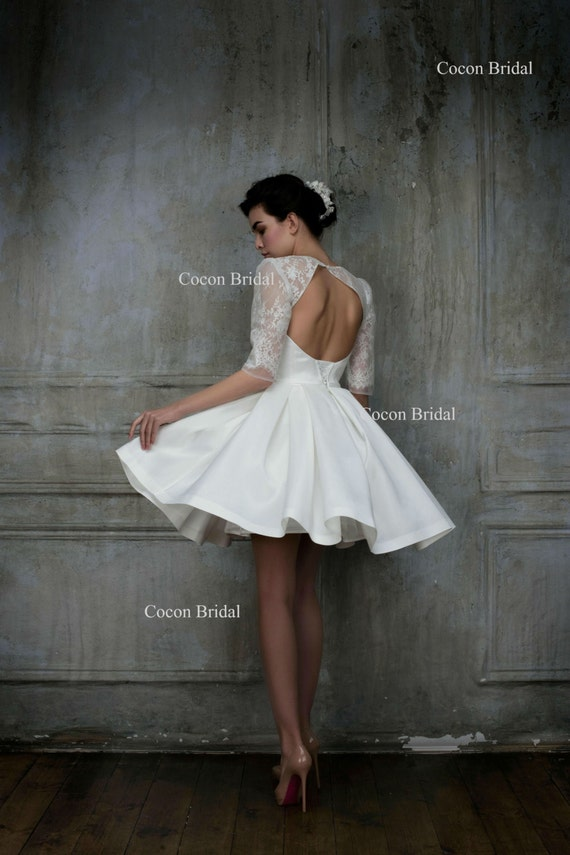 Short wedding dress knee length gown haute couture wedding junglespirit Image collections