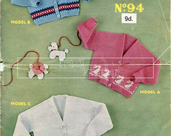 Three Girl's Cardigans 2-4 Years 3-ply Sirdar 94  Vintage Knitting Pattern PDF instant download