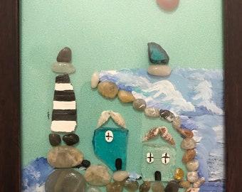 Handmade Seaglass Lighthouse Decor